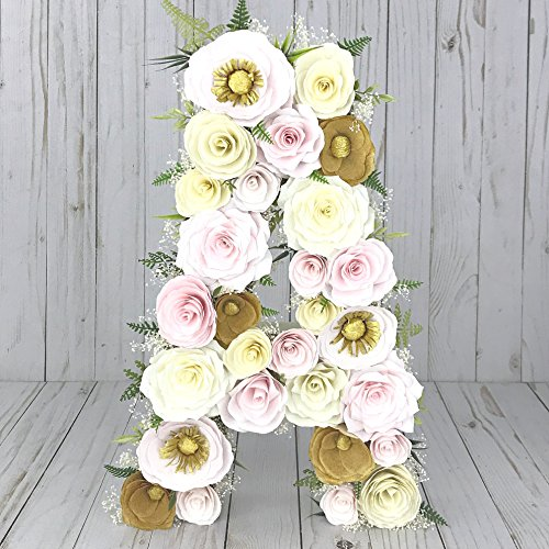 Blush and gold paper mache floral letter by Centertwine Paper flowers & Bouquets