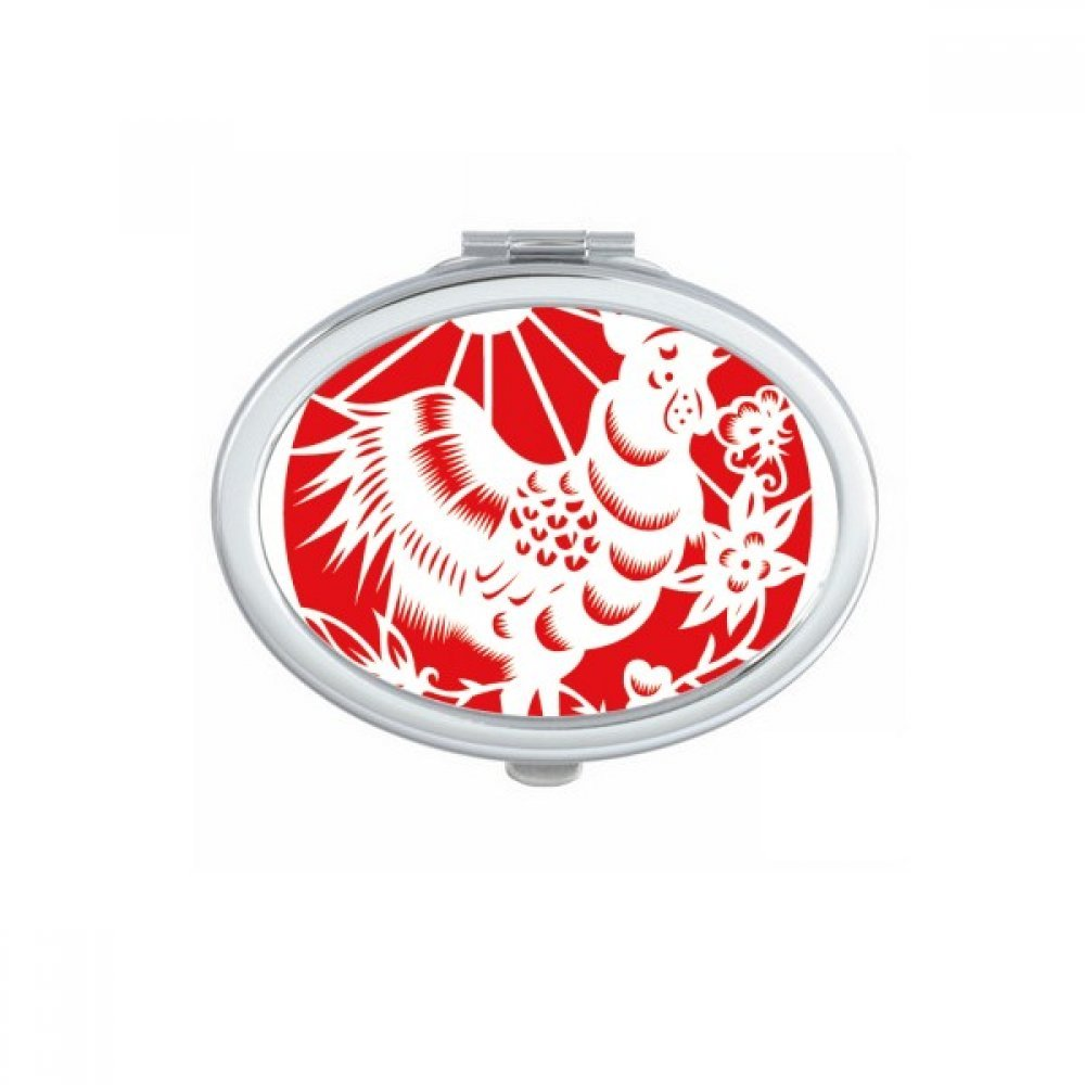 DIYthinker Paper-cut Rooster Animal China Zodiac Art Oval Compact Makeup Mirror Portable Cute Hand Pocket Mirrors Gift