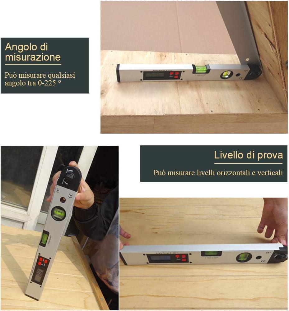 Goniometro Digitale 400mm//16 inch 0-225/° Gradi Angle Finder Inclinometro con LCD Retroilluminazione Livella Digitale Finder di Angolo per Costruzione Ingegneria Lavoro Legno
