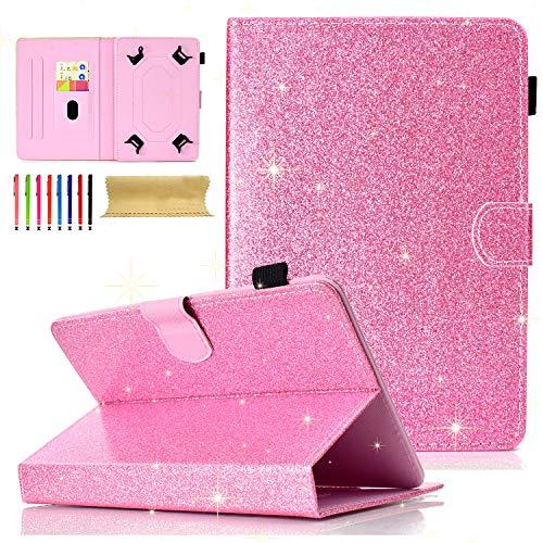 Cookk Bling Glitter Universal 9.5-10.5 Inch Tablet Case for iPad 4 3 2 1, iPad 5th/6th Gen, Galaxy Tab 3 10.1/ Tab 4 10.1/ Tab S3 9.7/ Tab E 9.6, Case for RCA 10 Viking Pro, MediaPad T3 10, Pink