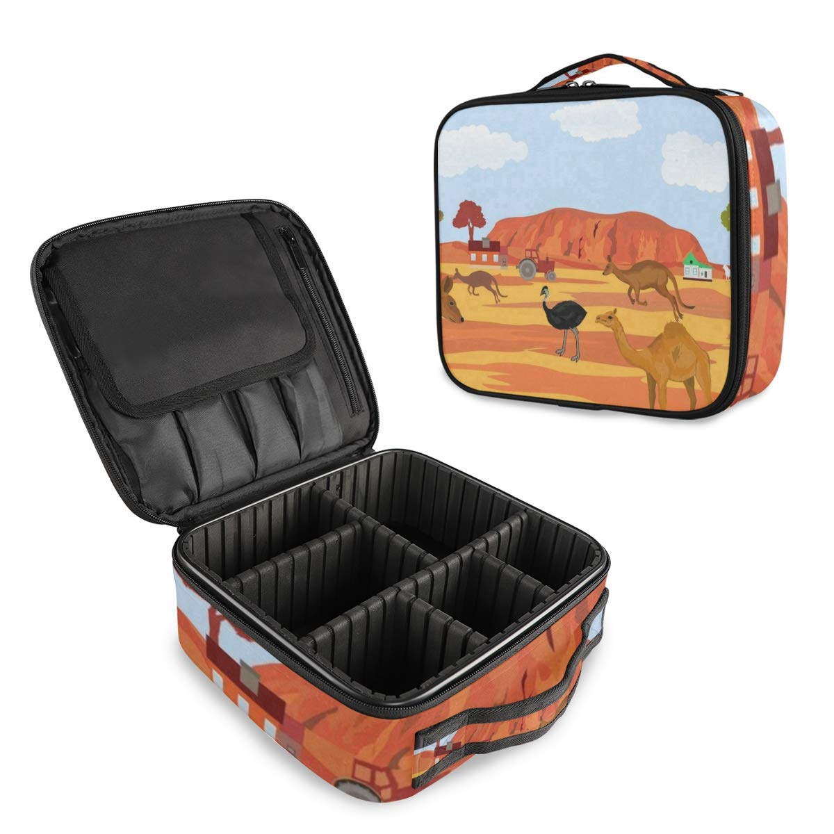 SLHFPX Travel Makeup Case Australia Kangaroo Ostrich Cosmetic Bag Box Professional Train Case Large Make Up Storage Organizer with Adjustable Dividers & Brush Section for Women Girls Hard Shell