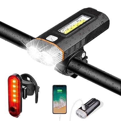 Luz Bicicleta Luces Bici Delantera y Trasera Faro LED USB ...