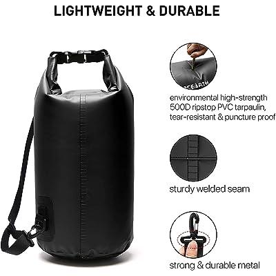Military Lightweight Dry Sacks Set Army 5 Pack Black WaterProof Dry Bags