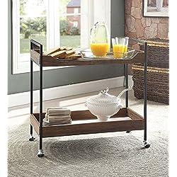 Vintage Brown Black Metal Modern 2-tier Tray Trim Serving Wine Tea Dining Kitchen Cart