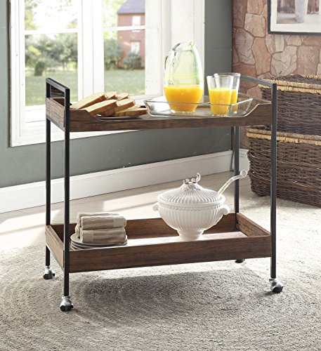 Vintage Brown Black Metal Modern 2-tier Tray Trim Serving Wine Tea Dining Kitchen Cart by eHomeProducts