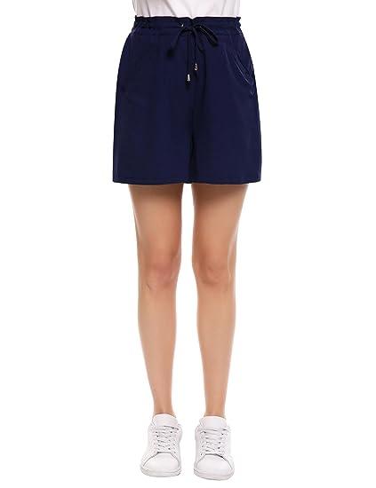 Femme Été Meaneor Short Taille Solide Casual Haute Large Élastique Cordon dBtsrxoCQh