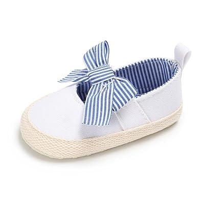 Longra Bébé Fille garçon Unisex Toile Des sandales Chaussures premiers pas  Princesse Chaussures de bébé ( 77d15ad42ad8