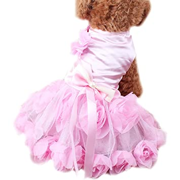 QZBAOSHU Vestido de Novia de Ropa para Mascotas Gatos Perros Cordón de la Perla (XL, Rosado): Amazon.es: Hogar