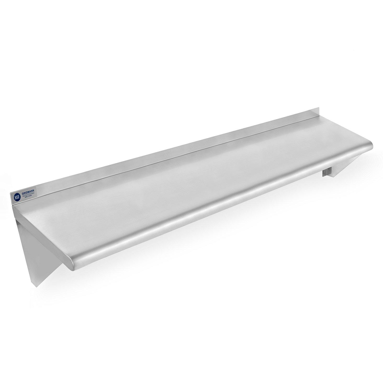 Gridmann NSF Stainless Steel Kitchen Wall Mount Shelf Commercial Restaurant Bar w/ Backsplash - 18'' x 48''
