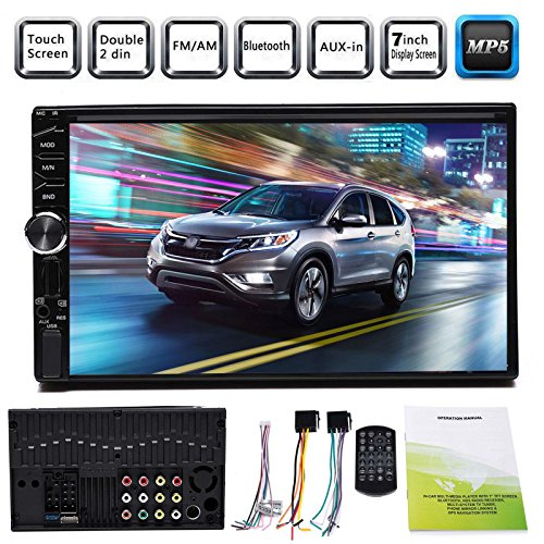 7 Inch Double Din Car Stereo Touchscreen Bluetooth Subwoofer Control In-Dash Car Receiver Audio Radio Video Player SD/USB/Aux-In/AM/FM