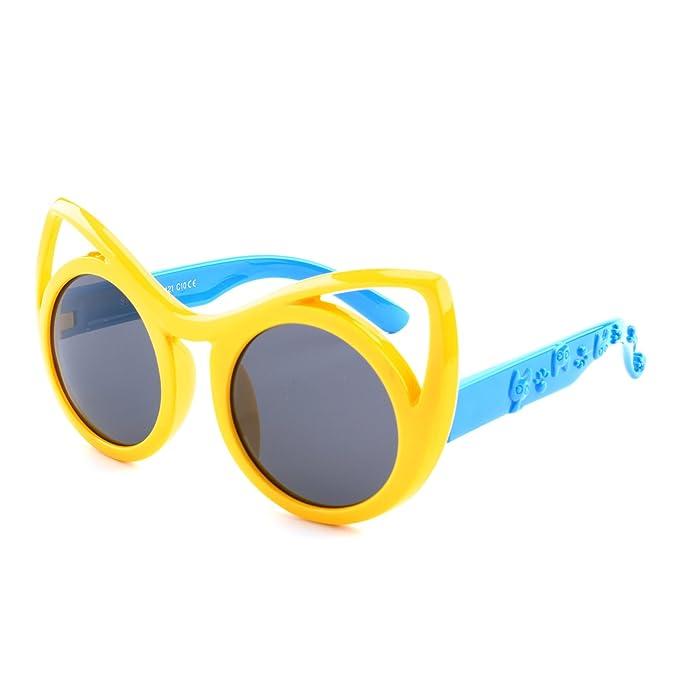 GQUEEN Gafas de sol polarizadas flexibles Ojos De Gato de goma para niños y infantes de 3-7 años de Edad, ET22