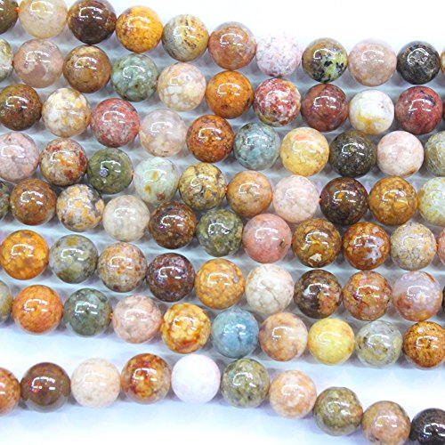 Natural Pink Ocean Agate Round Gemstone Beads Jewerlry Making Findings (6mm)