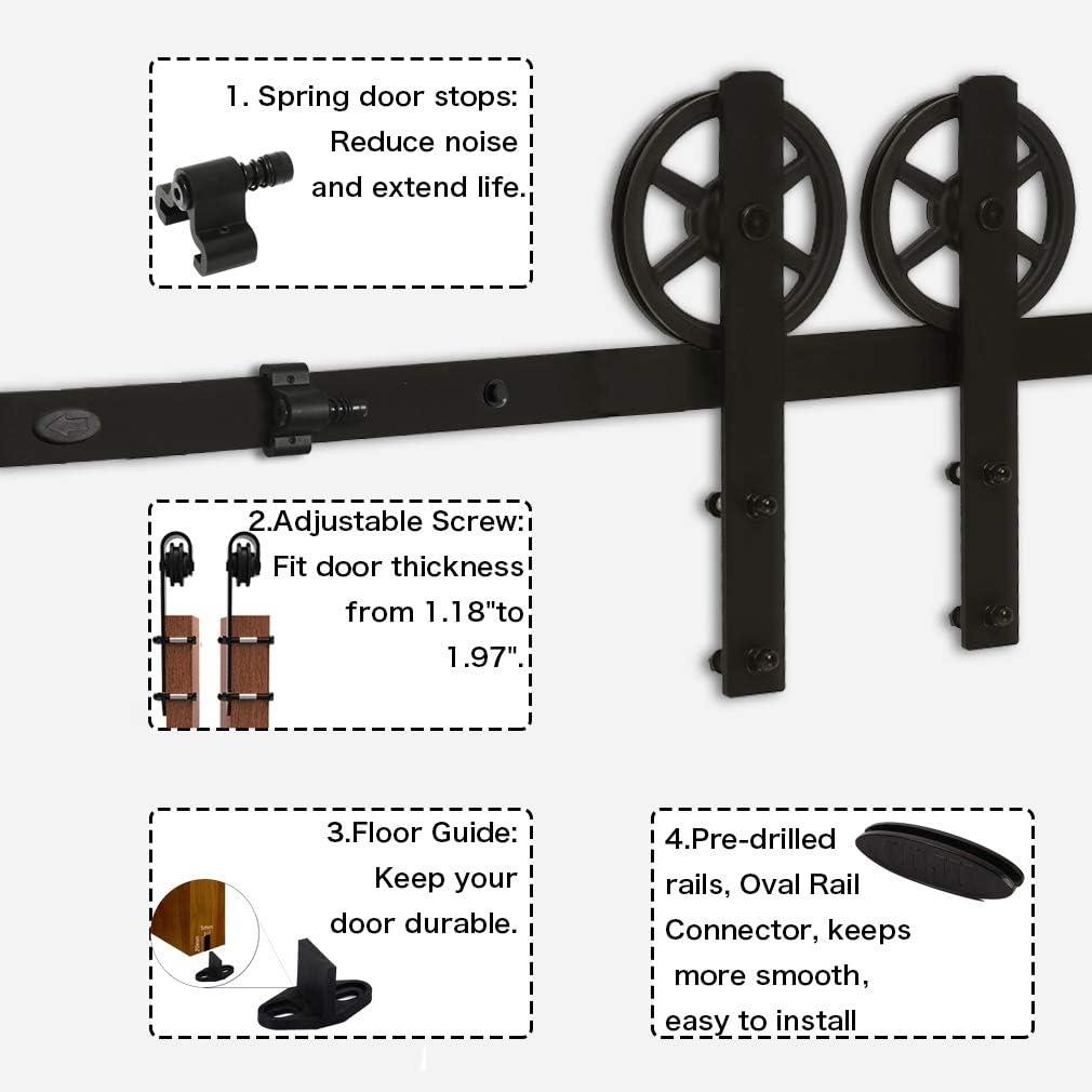 Sliding Barn Wood Door Hardware Track Kit For Single Door Big Wheel Roller Hanger Set 5.5FT//167cm Schiebe T/ür-Hardware-Track-Kit Einzelt/ür Holzt/ür