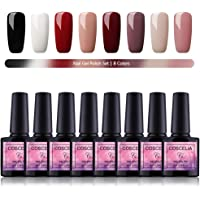 Kit Vernis Semi permanent Saint-Acior 8 pc Vernis à Ongle en Gel UV LED Gel Polish Soak off Ongle Kit Manucure Nail Art 8ml F8003