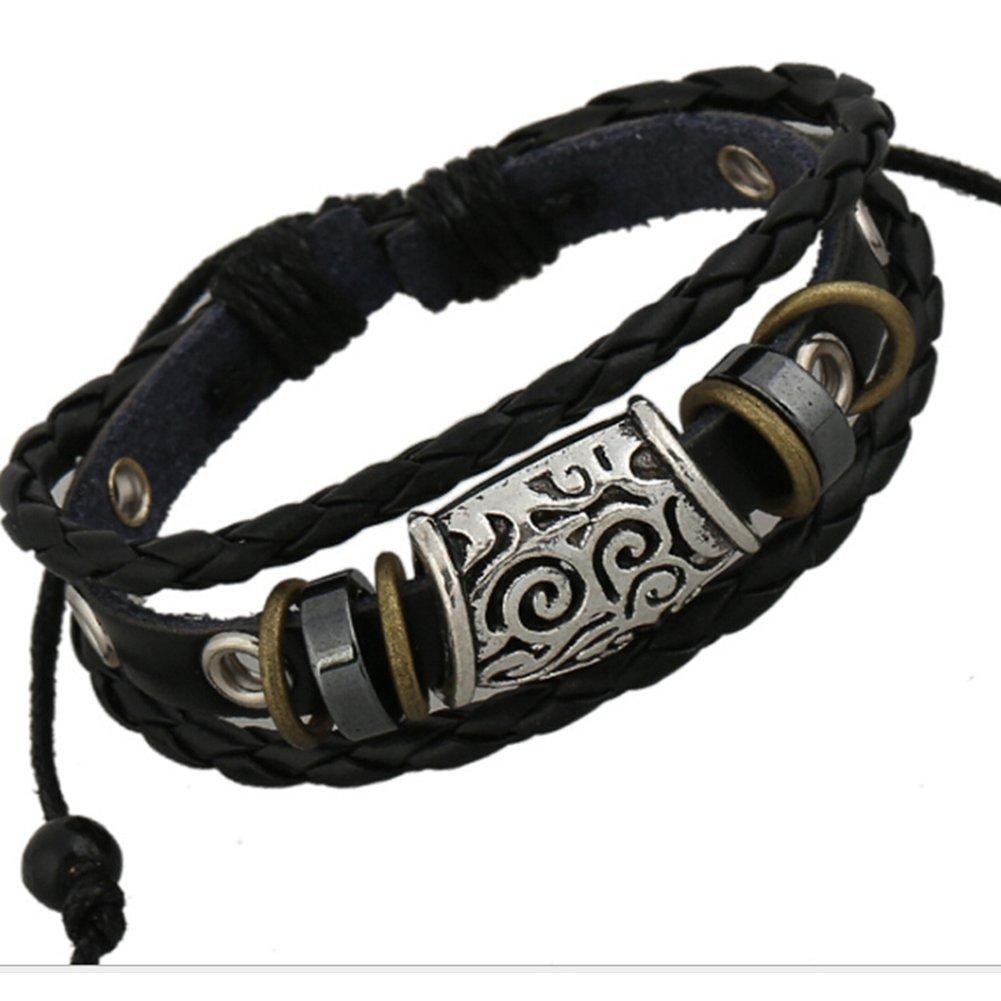TEMEGO Jewelry Mens Womens Genuine Leather Braided Wrap Bracelet, Vintage Gothic Emgraved Flower Charm Cuff Bracelet, Adjustable Fits 7-12 inch, Black Silver
