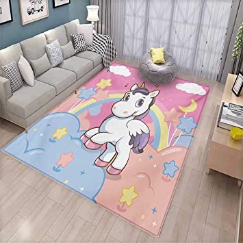 Amazon Com Teen Girls Girls Bedroom Rug Unicorn With Rainbow And