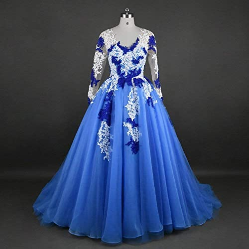 Amazon Blue Organza And Lace Prom Quinceanera Dress Wedding