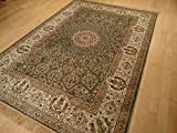 Silk Persian Green Area Rug 5×8 Rug Dining Room Rug Green Qum Traditional Rugs For Living Room and Bedroom (Green, Medium 5'x8′) Review