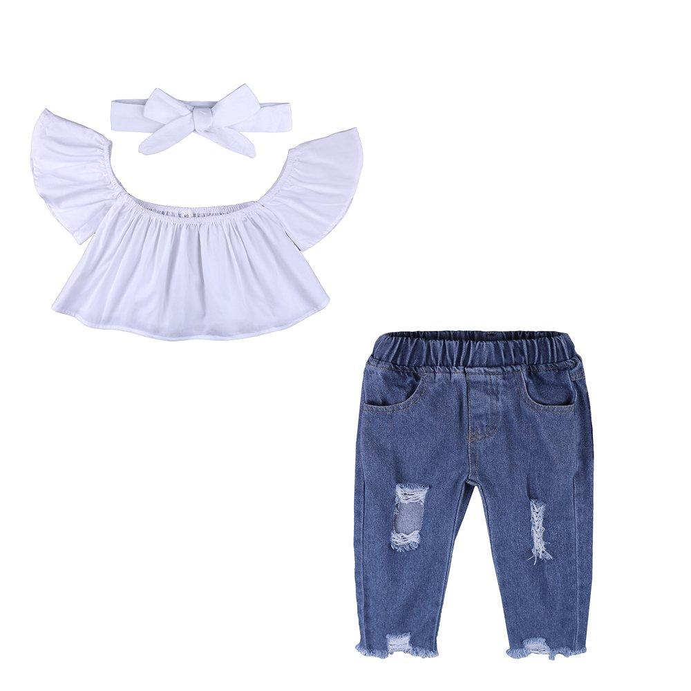 3pcs Baby Girls Kids Off Shoulder Lotus Leaf Top Holes Denim Jeans Headband Outfits Set