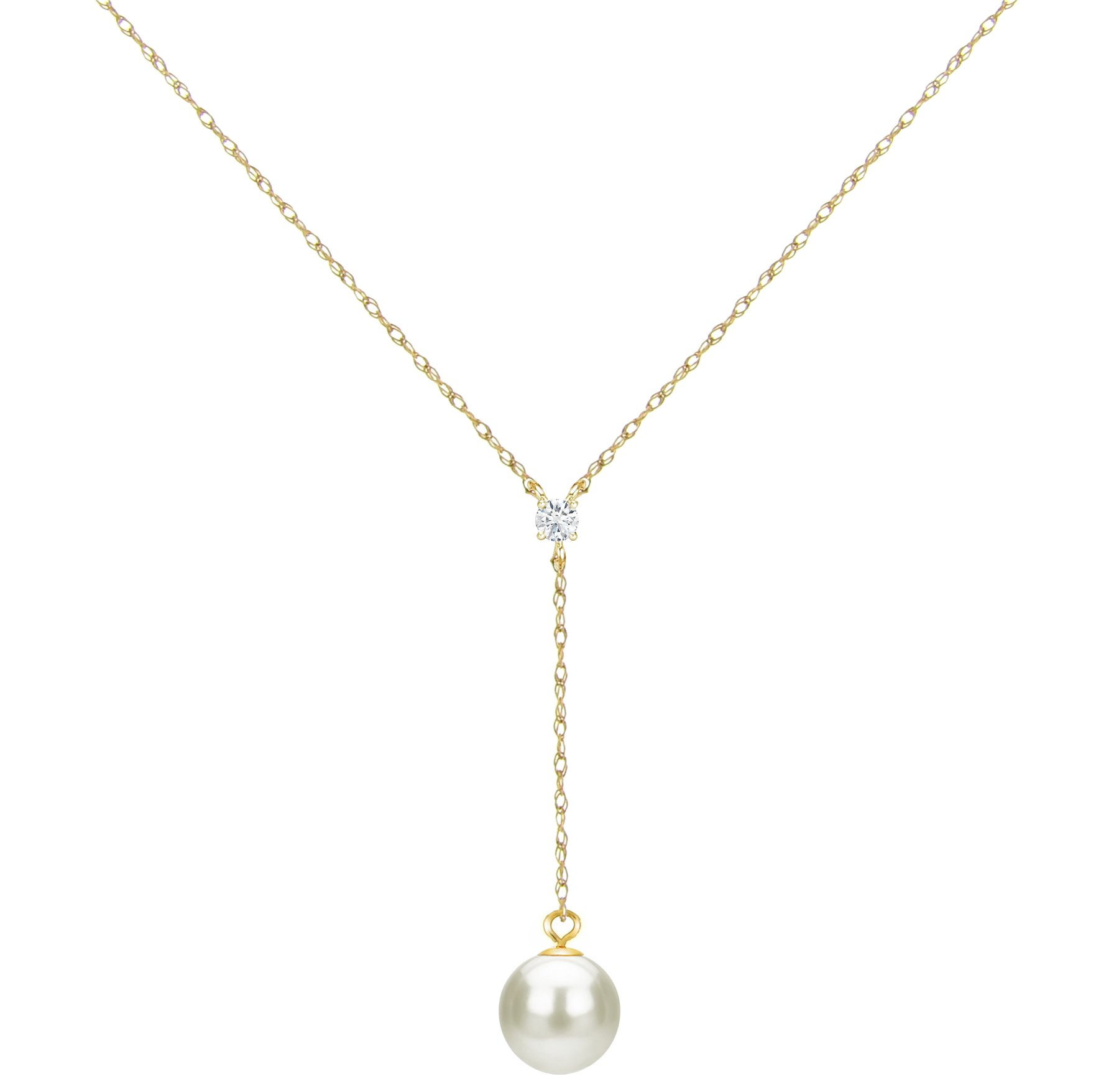 Tin Cup Y Necklace Freshwater Cultured White Pearl 14K Gold Chain Diamond Jewelry Women 1/20 CTTW 9-9.5mm