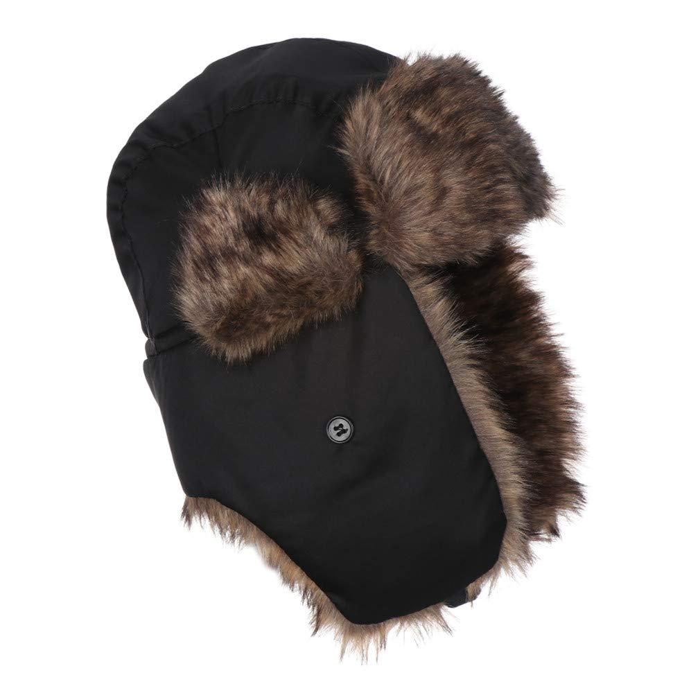 1PC Adult Men Ear Flaps Winter Trapper Aviator Trooper Bomber Hat Warm Ski Hat Fur Bomber Cozy Bonnet Caps