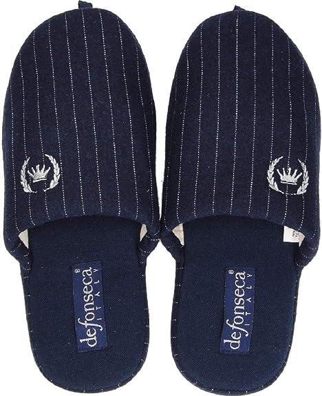 sito ufficiale imbattuto x scarpe da ginnastica a buon mercato De Fonseca Pantofole Ciabatte Invernali da Uomo MOD. Roma Top M208 Righe Blu