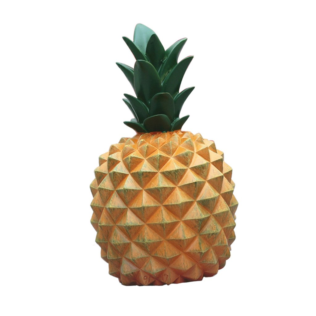 Baoblaze Resin Pineapple Piggy Box Cute Gift Home Decoration Cash Coin Saving Box Creative House Money Box Pineapple Ornament - White L, as Described