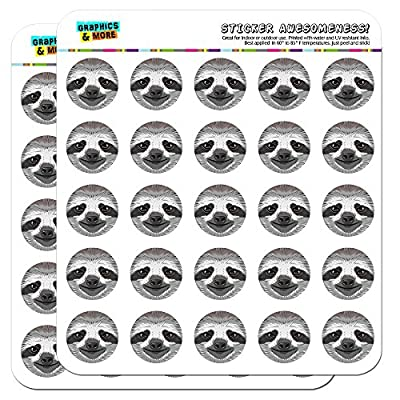 Sloth Face 1&Quot; Planner Calendar Scrapbooking Crafting Stickers - Clear -