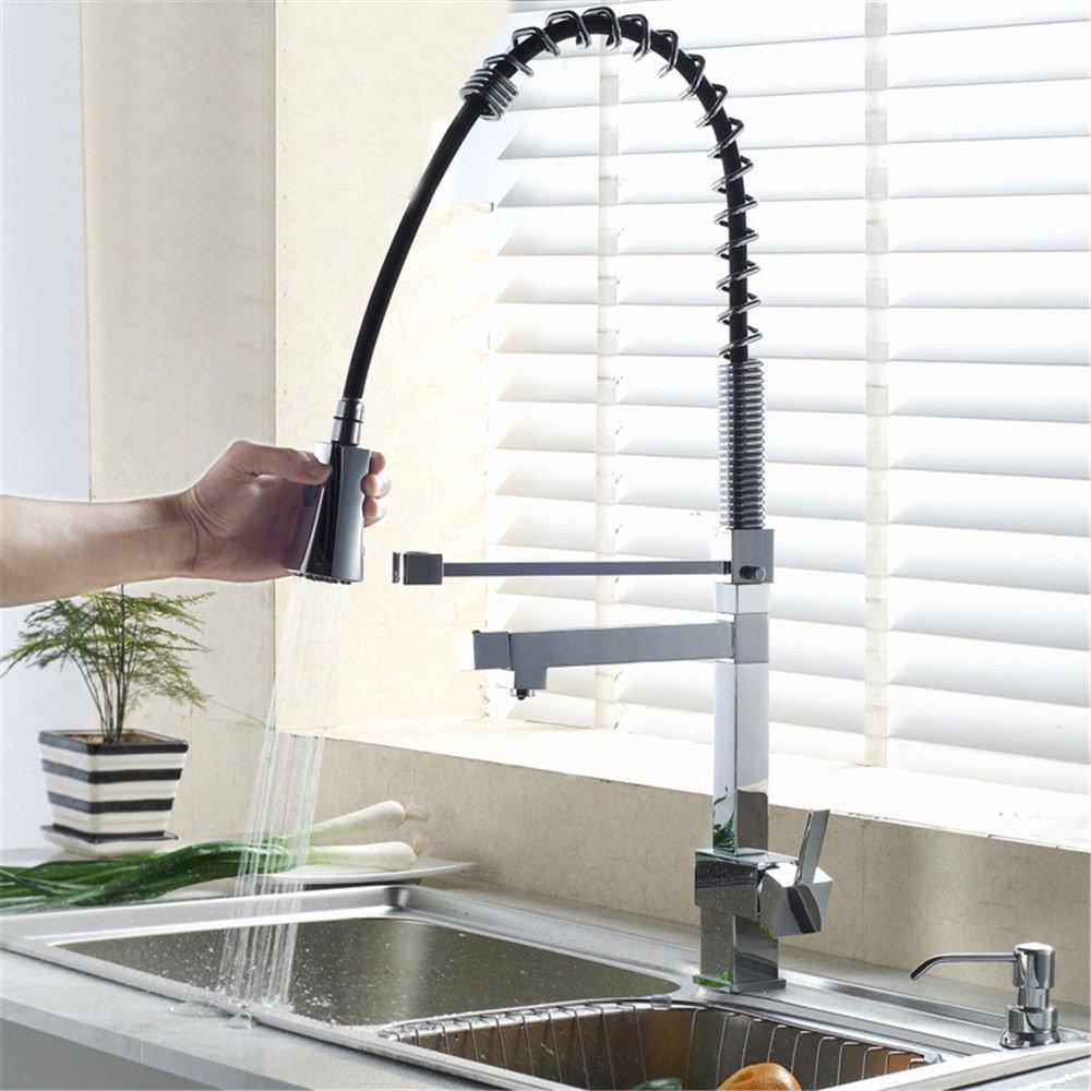 MEIBATH Waschtischarmatur Badezimmer Waschbecken Wasserhahn Küchenarmaturen Feder Warmes und Kaltes Wasser aus Messing Küchen Wasserhahn Badarmatur