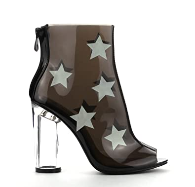 GRACY-2 Womens Clear Lucite Perspex Stars Open Toe Ankle Booties