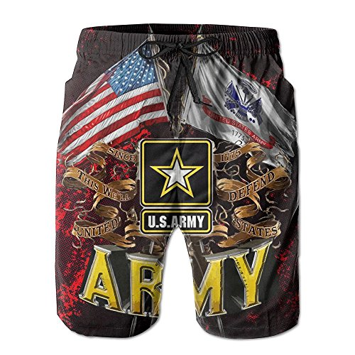 SUNSUNNY Army Double Flag US Army Patriotic Decals - Men's Swim Trunks Beach Short Army Double Flag US Army Patriotic Decals - Flag Patriotic Decal