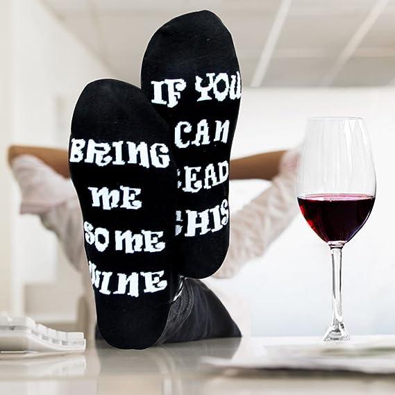 878d3a329ec Goldworld fantaisie Coton Chaussettes de vin cadeaux d anniversaire pour  femme Mom W Expression humoristique Homme SI vous pouvez lire CE Bring Me a  Glass ...