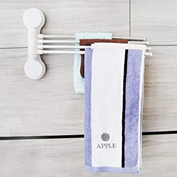 LanLan Porta Toallitas, baño Adhesivo Puerta Toallitas toallero, 4 Brazos pivotantes