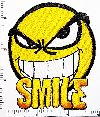 Fun Cool Text Facebook Hot Face Smile Face Logo Kid Hippie Patch Kids Cartoon Motif Patches Smile Face Iron on Applique for Cloth Sticker Great as happy birthday - Text Sunglasses Face