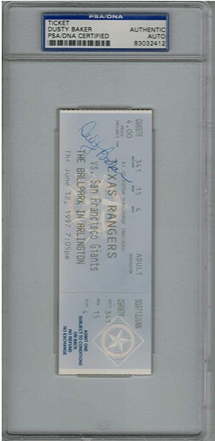 Dusty Baker Signed First Ever MLB Inter League Game Ticket