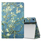 MoKo Case for All-New Amazon Fire HD 10 Tablet (7th Generation, 2017 Release) - Slim Folding Stand Cover with Auto Wake / Sleep for Fire HD 10.1 Inch Tablet, Almond Blossom