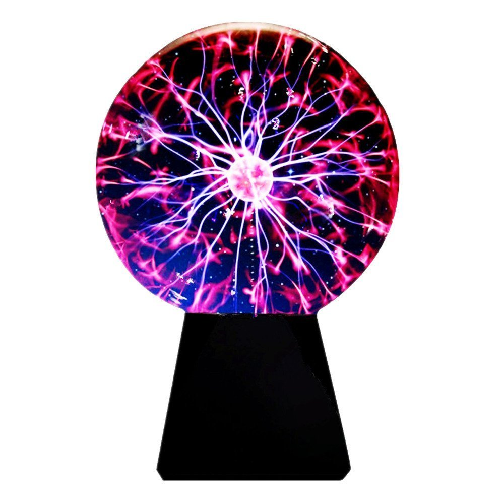 Glass Plasma Ball Sphere Lightning Light Lamp Party Magical Ball Electrostatic Falshing Ball Educational And Fun Gift For Christmas, Birthdays, Or Home Decoration (8 inch)