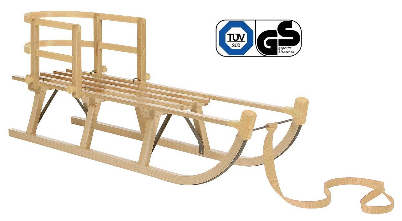 Impag Holzschlitten Rodelschlitten mit Zuggurt und Lehne Natur Davos 105 - 125 cm lang