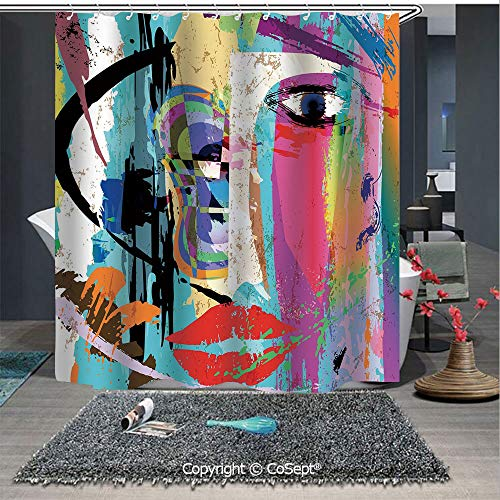 SCOXIXI Shower Curtain,Woman Face Art Composition with Paint Strokes and Splashes Eye Red Lips Grungy Decorative,for Bathroom(70.86