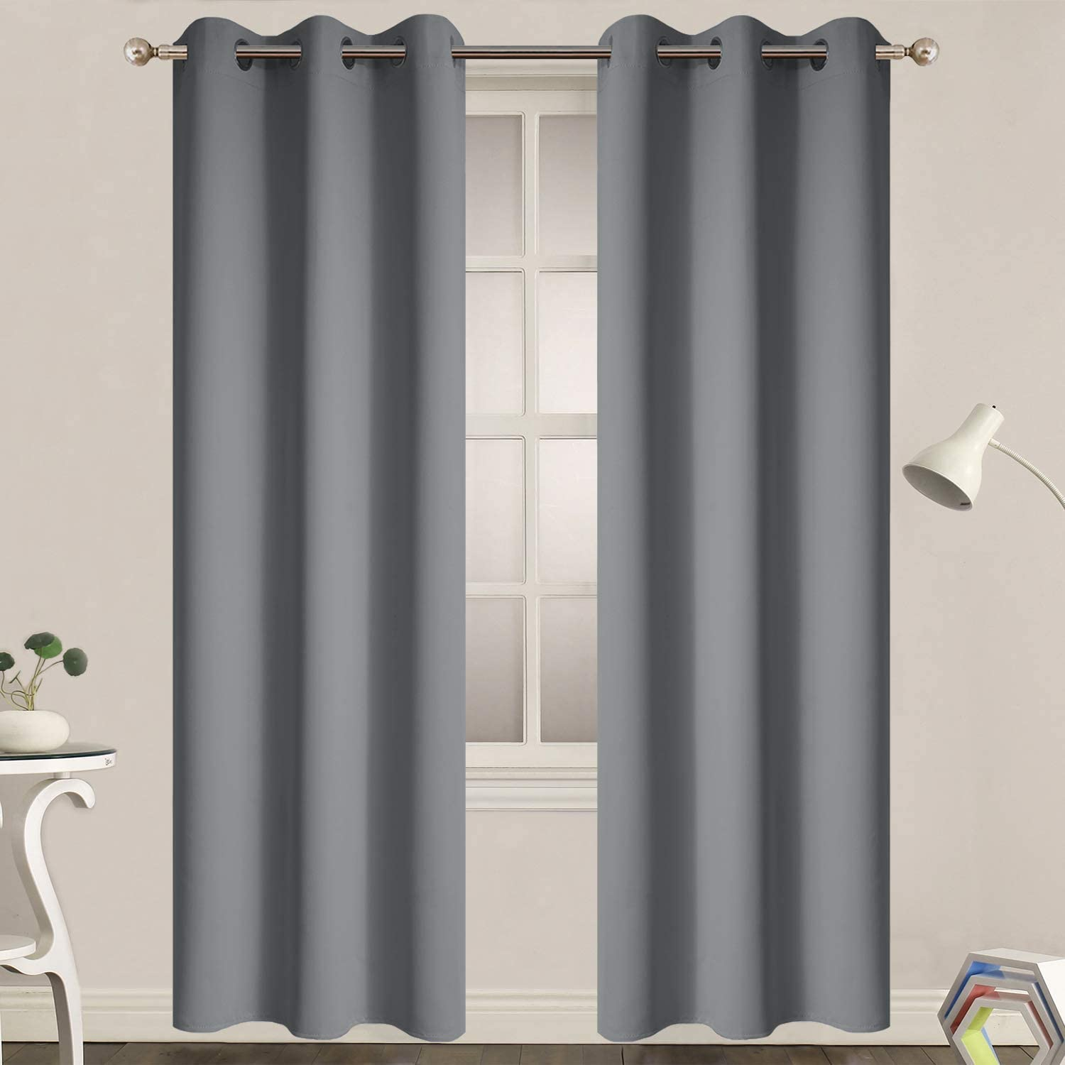 Yakamok Blackout Curtains for Bedroom - Grommet Thermal Insulated Room Darkening Curtains for Living Room, Set of 2 Panels (38 x 84Inch, Grey)