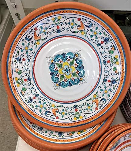 Mediterranean Breeze NapaStyle Melamine Dinnerware Terracotta Tile Design (Set of 4 Dinner Plates) ()