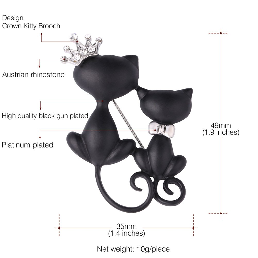 Lovely Crown Cat Brooch & Pin Black Gun Plated Double Kittens Cute Brooches Accessories for Women by U7 (Image #3)