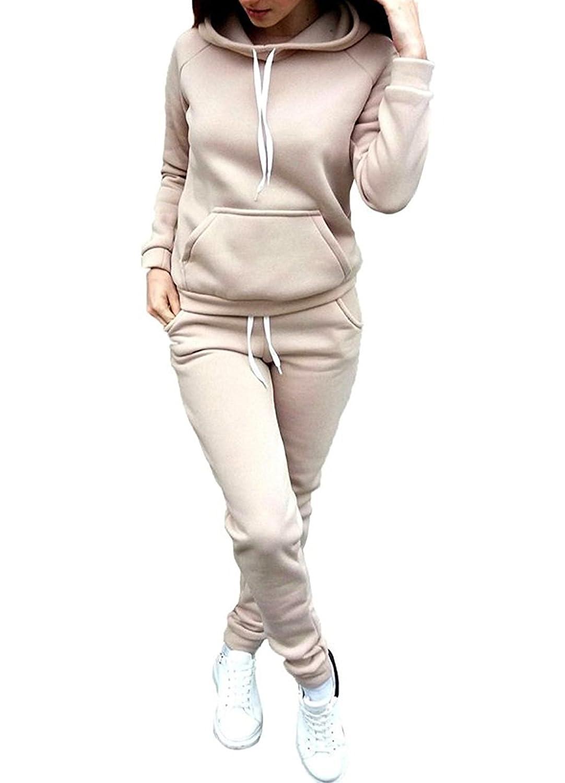 JackenLOVE Damen Jogginganzug Langarm Anzug Pullover Sportanzug Trainingsanzug Sweatshirt Anzug mit Hose 2pcs
