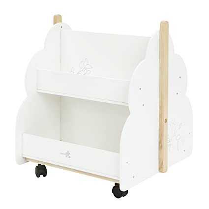 Labebe Kid Bookshelf With Wheels Wood White Bird Printed For 1