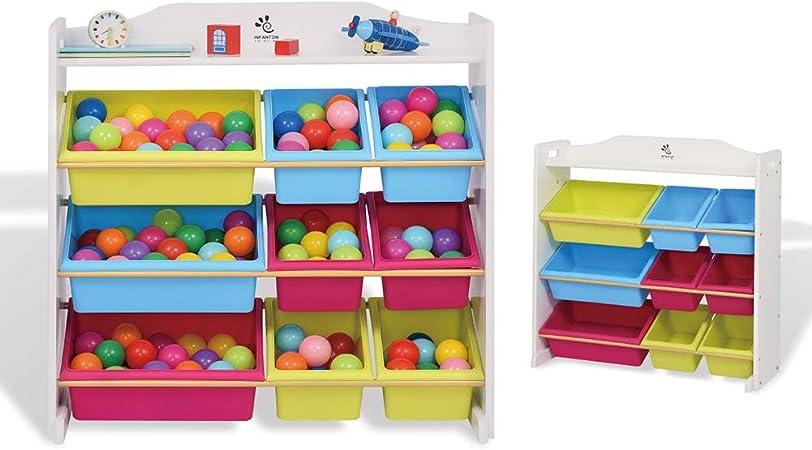 XCXDX Rack De Almacenamiento De Juguetes para Niños con 9 Cajas, Estante para Libros De Jardín De Infantes, Canasta De Almacenamiento De Colores, 86 × 40 × 85cm A: Amazon.es: Hogar