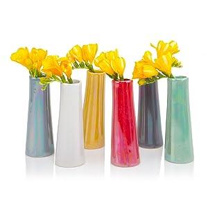Chive - Set of 6 Galaxy, Small Cylinder Ceramic Bud Flower Vase, Unique Single Flower Decorative Floral Vase for Home Decor, Bulk (Mix)