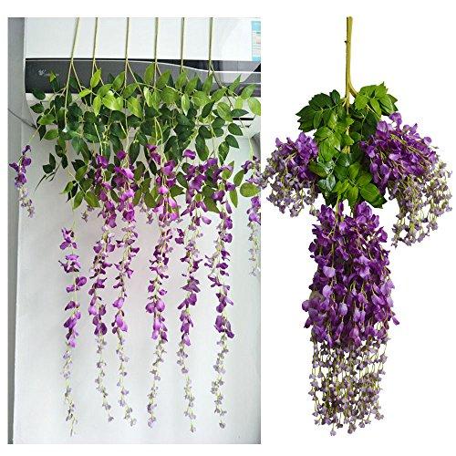 Heybee 12 Piece Artificial Silk Wisteria Vine Rattan Hanging Flower for Fairy Romantic Wedding Décor, Dark Purple