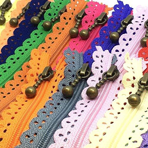 LNKA Lace Zippers Novelty 20pcs/Pack 3# End Zipper DIY Nylon Coil Flower Zipper for DIY Sewing Dress Tailor Craft Bed Bag Random Color (Lace Zippers 20CM(7.8inch))