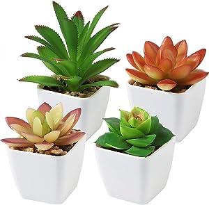 CQURE Fake Succulent Plants, Set of 4 Artificial Succulents Plant Plastic Mini Potted Decor Faux Succulent Plants for Home, Office, Bathroom, Bedroom, Desk, Bookshelf - Realistic Faux Plastic Greenery