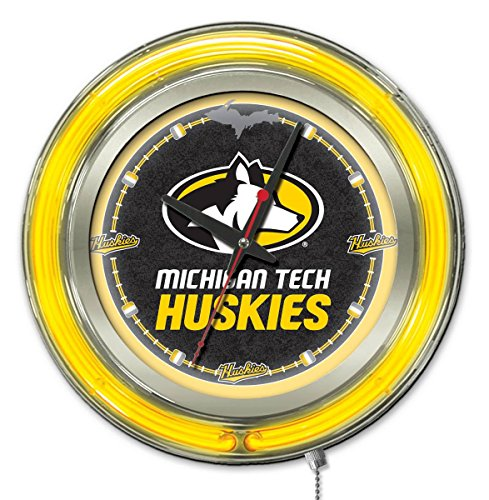 Holland Bar Stool Co. Michigan Tech Huskies HBS Neon Yellow Black Battery Powered Wall Clock - Tech Neon Clock